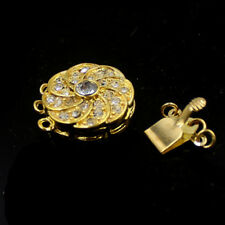 16mm 3- Strand Yellow Gold Plated Rhinestone Box Connector Jewelry Clasp 1 Pcs