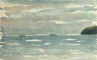 Unknown Impressionist - View on Sea with Boats and Rocks - Watercolour