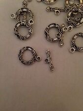 10 Sets 13mm Fancy Toggle Clasps Bali Style Pewter L@@K #305
