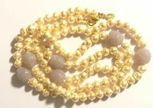 KJL Kenneth Jay Lane Necklace Faux Pearls and Lavender Beads