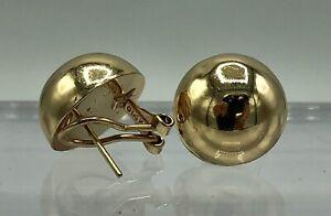 14K Yellow Gold Dome Half Ball Pierced Clip Earrings /b