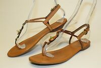 Coach Robyn Womens 7.5 B Brown Leather Thongs Slingbacks Sandals Flats Shoes