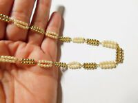 Signed Citation Off White Faux Pearl Gold Tone Bead Linked Necklace Vintage