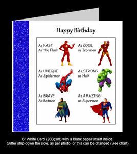 Superhero Birthday Card, Hulk, Batman, Ironman, Spiderman, Flash, Superman