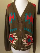 Vintage 1980's Aztec Cardigan Sweater Drab Green Turquoise Cotton Blend Size S M