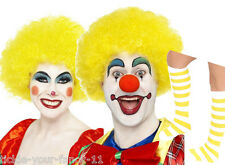 Unisex Yellow Clown Kit Wig Make Up Nose Socks Fancy Dress Costume Circus Funny