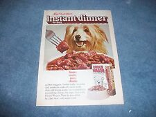 """1970 Purina Chuck Wagon Vintage Dog Food Ad """"Instant Dinner for Dogs"""""""