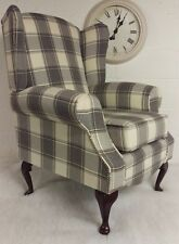 Wing Back/Queen Anne Country Cottage Armchair Cream Grey Alderney Tartan Check