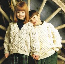 Childrens aran  Knitting Pattern:instructions- jumper cardigan sizes 24-34 chest