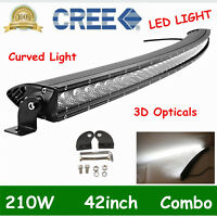42inch 210W CURVED LED Light Bar Combo Beam Single Row Truck ATV Offroad 3D LENS