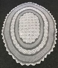 "72x90"" White Oval 100% Cotton Handmade Crochet Lace Tablecloth Vintage Style"