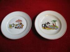Lot deux rares assiettes porcelaine Fables de La Fontaine cf Rabier