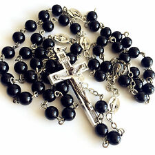 * Black Natural Agate BEADS Ave Maria ROSARY & CROSS NECKLACE CRUCIFIX CATHOLIC