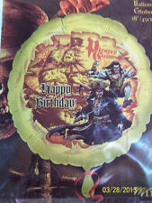 "RARE Pirates of the Caribbean Birthday Party Decoration Foil 18"" Mylar Balloon"