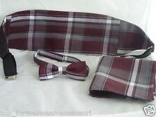 Burgundy Wine Polyester Bow Tie Cummerbund and Hankie Set 2uk 1st Class