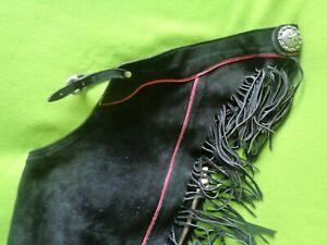 Jim MURRAY USA Custom BLACK Roughout Leather Working Ranch Show CHAPS~MEDIUM~NR