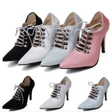 Women Punk Ankle Boots High Heel Pumps Gothic Pointed Toe Formal Shoes Sz 32-45