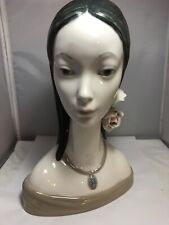 "Lladro ""Maja Head"" Figurine Retired 4668 Girl with Roses"