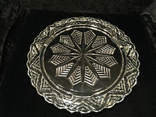 """Vintage Feather/Snowflake Pattern 11.5"""" GLASS CAKE/PIE PLATE FOOTED PLATFORM"""