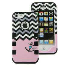 For iPhone 5S 5 SE Hybrid TUFF Armor Shockproof Rugged Hard Soft Case Cover PAnc