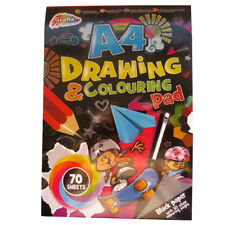 A4 Black Drawing Pad & Silver Colouring Pages - 70 Sheets - Size - 11.7' x 8.3'