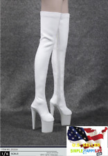1/6 Fashion White Over Knee High Heel Boots Hot Toys PHICEN Female Figure ❶USA❶