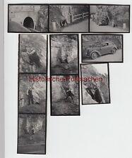 (F6864) 10x Orig. Mini-Fotos Felsen Klettertour, Eisenbahntunnel Pkw, vermutl. E