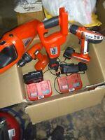 Black & Decker Firestorm  24 VOLT HAMMER DRILL 4 Tool Set Batteries & Chargers.
