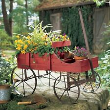 Porch Planter Outdoor Flower Garden Decorative Amish Wagon Decor Red Plants New