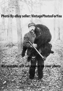 Old Antique 1909 Hunter w/ Gun/Rifle Carries Black Bear From Woods Hunting Photo