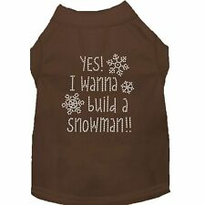 Mrage Pet Products Yes want to buld a Snowman Rhnestone Dog Shrt Brown XS (8)