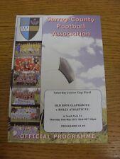 10/05/2012 SURREY COUNTY sabato Junior Cup Final: OLD BOYS Clapham V RH123 ATH