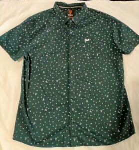 Mooks Mens Short Sleeve Button Up Shirt Size 3XL Black Stars *BNWOT*