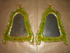 PAIR OF LACQUERED ANTIQUE MIRRORS