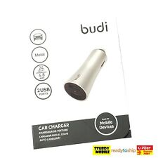 Budi 4.8 Amp Metal 2 USB Car Charger 24 Watt Fast Charge iPhone Android Silver
