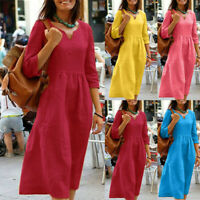 Womens Summer 3/4 Sleeve Baggy Cotton Linen Kaftan Midi Shift Dress Plus Size