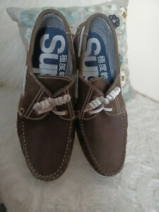 Superdry Mens Fabulous Choc Brown Leather Boat Shoes 9 Vgc