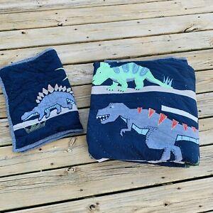 Pottery Barn Kids Warren Dinosaur Full/Queen Quilt & Standard Sham