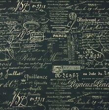 BALLARD DESIGNS DOCUMENT INK INDIGO BLUE #D4036 French Script Fabric BY YARD