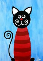 """new! ACEO size original signed folk art acrylic painting """"Cat in a Sweater"""""""