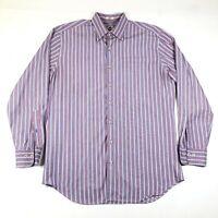 Peter Millar Button Down Shirt Mens L Blue Red Green Thin Striped Long Sleeve