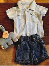 BABY B'GOSH NEWBORN Blue Shirt,Denim Shorts, Khaki Shorts, Elephant Toy - MINT
