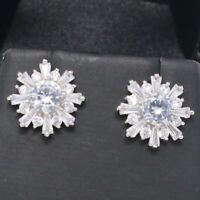 Gorgeous White AAA Moissanite Stud Earrings 925 Sterling Silver Gift Box Jewelry