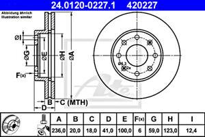 2x ATE Brake Disc For CHEVROLET Aveo Kalos Spark T200 96471274