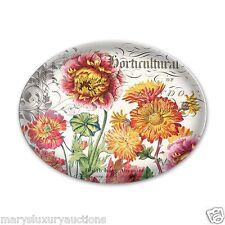 """Michel Design Works """"Blooms and Bees"""" Oval Glass Soap Dish w/Colorful Flowers"""