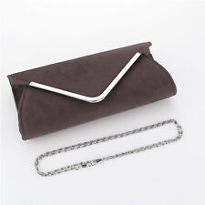 Plain Suede Wedding Ladies Party Prom Evening Clutch Hand Bag Purse HandBag New