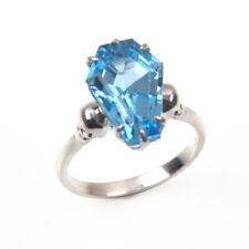 Coffin & Skull Claw Ring Swiss Blue Topaz 6.5ct Set to Solid Silver UK Made