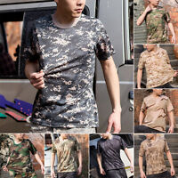 Mens Military Camouflage Camo T-Shirt Army Combat Cotton Quick-dry T-Shirt