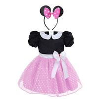 Girls Baby Toddler Red Pink Minnie Mouse Fancy Dress Costume Outfit & Headband
