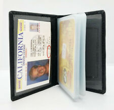 Black Leather Credit Card ID Holder Mens Wallet Clear Sleeves Organizer
